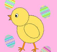 Easter Chick with Easter Eggs by CraftyChloe23
