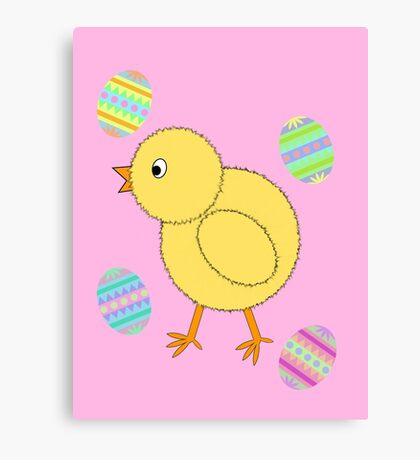Easter Chick with Easter Eggs Canvas Print