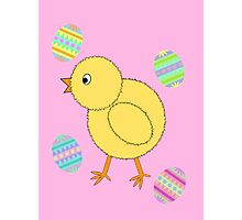 Easter Chick with Easter Eggs Photographic Print