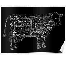 Typographic cow Poster