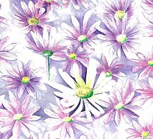 Purple Daisies with a Difference! by Annartist2015