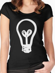 Light Bulb - White Ink Women's Fitted Scoop T-Shirt
