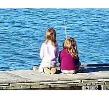 Little Girls Fishing Photographic Print