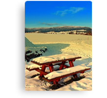 Table and bench in winter scenery | landscape photography Canvas Print