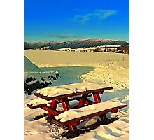 Table and bench in winter scenery | landscape photography Photographic Print