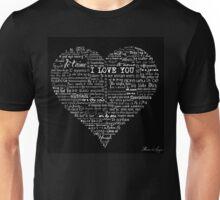 Typographic multi language I love you heart Unisex T-Shirt