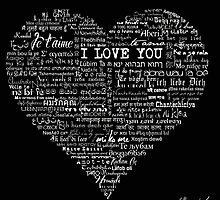 Typographic multi language I love you heart by MariondeLauzun
