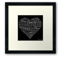 Typographic multi language I love you heart Framed Print