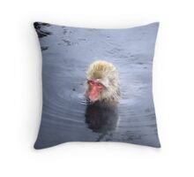 Monkey Swims in Onsen Throw Pillow