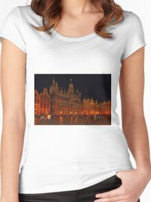 Grand Place at Night, Brussels, Belgium Women's Fitted Scoop T-Shirt