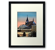 Winter scenery with village skyline | architectural photography Framed Print