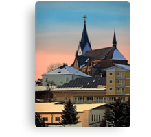 Winter scenery with village skyline | architectural photography Canvas Print