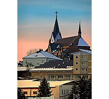 Winter scenery with village skyline | architectural photography Photographic Print