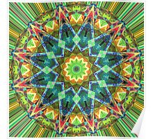 Green Spectral Mandala Abstract Poster