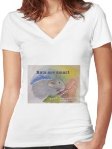 Rats Are Smart Women's Fitted V-Neck T-Shirt
