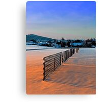 Fences, evening sun and the village | landscape photography Canvas Print