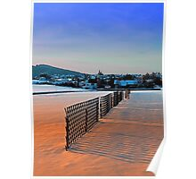 Fences, evening sun and the village | landscape photography Poster