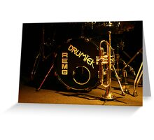 brass, drums and jazz Greeting Card