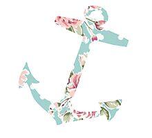 Blue & Pink Vintage Floral Anchor Photographic Print