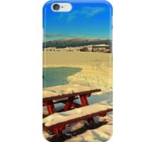 Table and bench in winter scenery | landscape photography iPhone Case/Skin