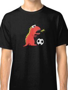 Funny Cartoon Dinosaur Soccer Dark Shirt Classic T-Shirt
