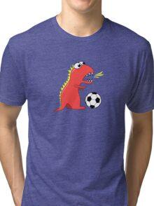 Funny Cartoon Dinosaur Soccer Dark Shirt Tri-blend T-Shirt