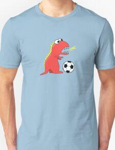 Funny Cartoon Dinosaur Soccer Dark Shirt T-Shirt