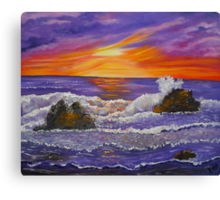 Purple Ocean abstract ocean sunset painting Canvas Print