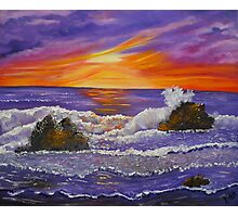 Purple Ocean abstract ocean sunset painting Photographic Print