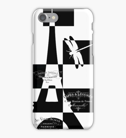 Black white Eiffel Tower iPhone Case/Skin