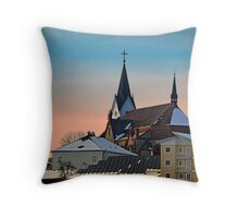 Winter scenery with village skyline | architectural photography Throw Pillow