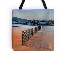 Fences, evening sun and the village   landscape photography Tote Bag
