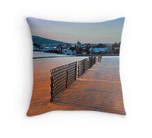 Fences, evening sun and the village | landscape photography Throw Pillow