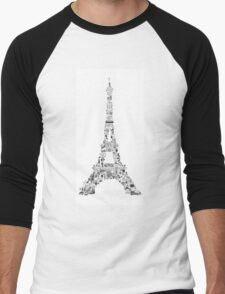 Vintage Eiffel Tower collage Men's Baseball ¾ T-Shirt