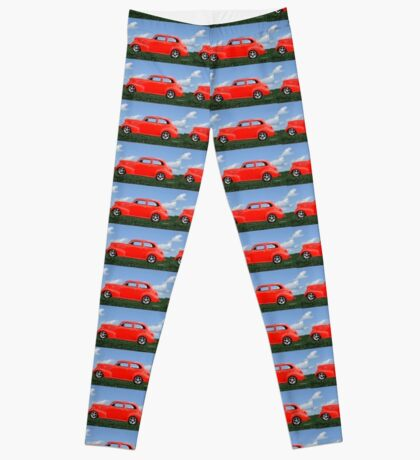 Funky Classic Automobile Collage Art Leggings