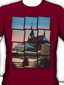 Winter scenery with village skyline | architectural photography T-Shirt