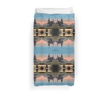 Winter scenery with village skyline | architectural photography Duvet Cover