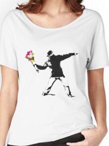 Banksy Flower Bomber Recreation Women's Relaxed Fit T-Shirt