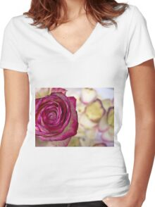 Pink rose with petals 9 Women's Fitted V-Neck T-Shirt