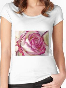 White Pink rose with petals 2 Women's Fitted Scoop T-Shirt