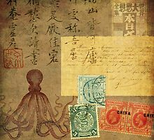 Chinese octopus vintage collage by MariondeLauzun