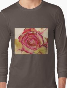 White Pink rose with petals 4 Long Sleeve T-Shirt