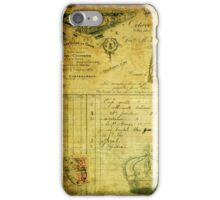Vintage French document collage iPhone Case/Skin