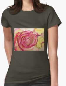White Pink rose with petals 6 Womens Fitted T-Shirt