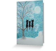 Cats in Snow: Cats in tree with Snow and Moon Greeting Card