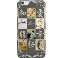 Japanese collage vintage stamps and illustration iPhone Case/Skin