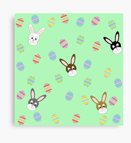 Easter Bunnies with Easter Eggs Canvas Print