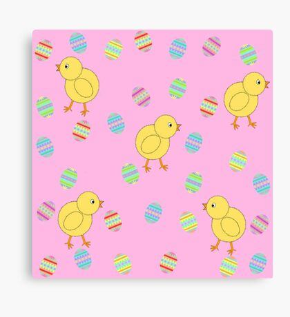 Easter Chicks with Easter Eggs Canvas Print