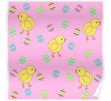Easter Chicks with Easter Eggs Poster