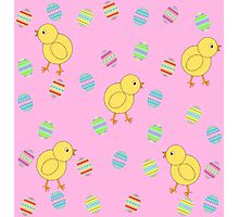 Easter Chicks with Easter Eggs Photographic Print